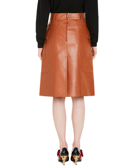 Leather A-Line Skirt, Neutral