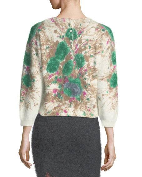 Floral Knit Pullover Sweater