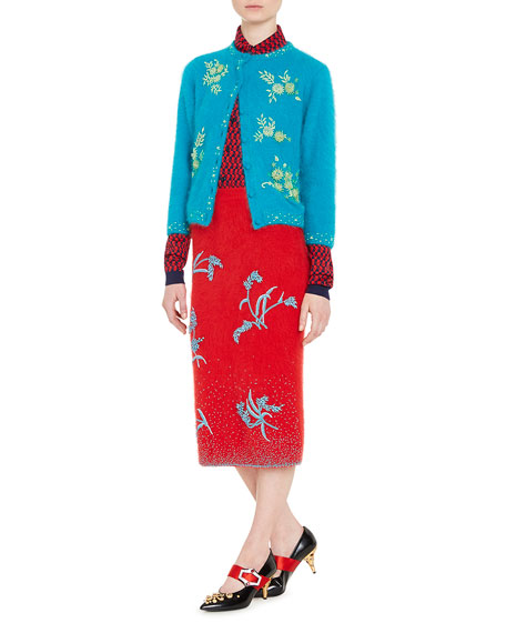 Embroidered Angora-Blend Pencil Skirt, Red