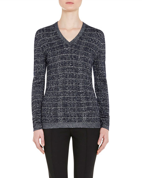 Metallic V-Neck Pullover Sweater, Navy