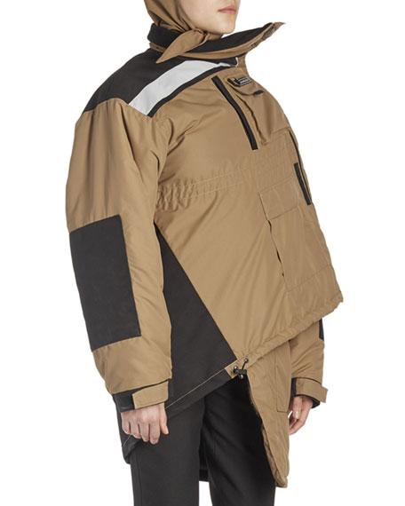 Pulled Asymmetric Parka Jacket