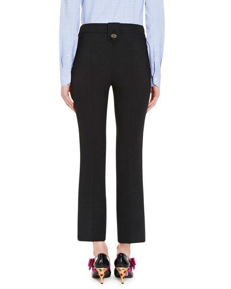 Cropped Flare-Leg Pants, Black