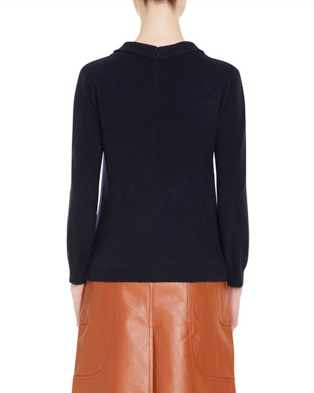 Cashmere Tie-Neck Sweater, Blue