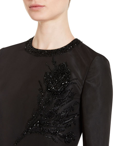 Embellished Faille Cocktail Dress, Black