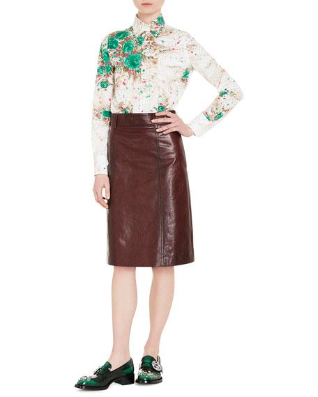 Floral-Print Cotton Blouse, Green
