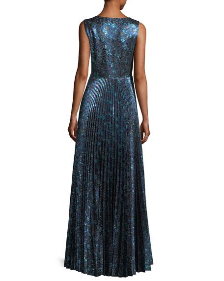 Pleated Metallic Jacquard Gown