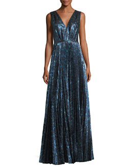 Pleated Metallic Jacquard Gown