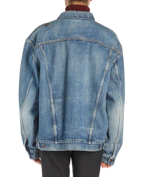 Pulled Asymmetric Denim Jacket