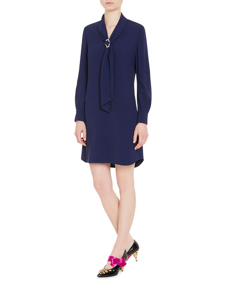 Sable Tie-Neck Long-Sleeve Dress, Blue