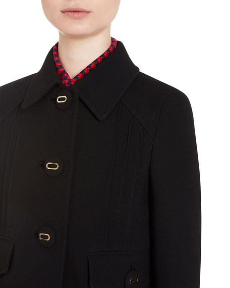 Virgin Wool Blazer Jacket, Black