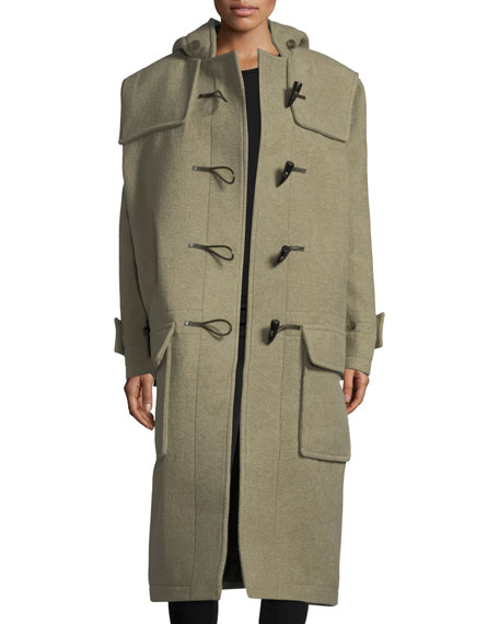Long Toggle-Front Cashmere-Blend Coat