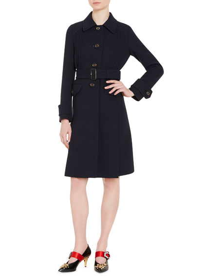 Button-Front Wool Coat, Blue