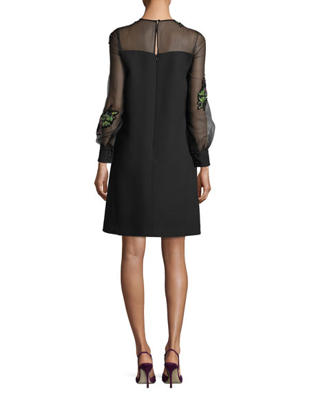 Floral-Embroidered Cady Cocktail Dress