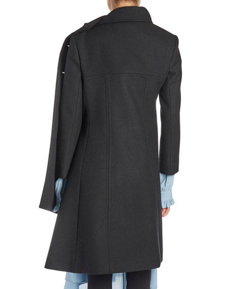 Asymmetric Jewel-Button Coat