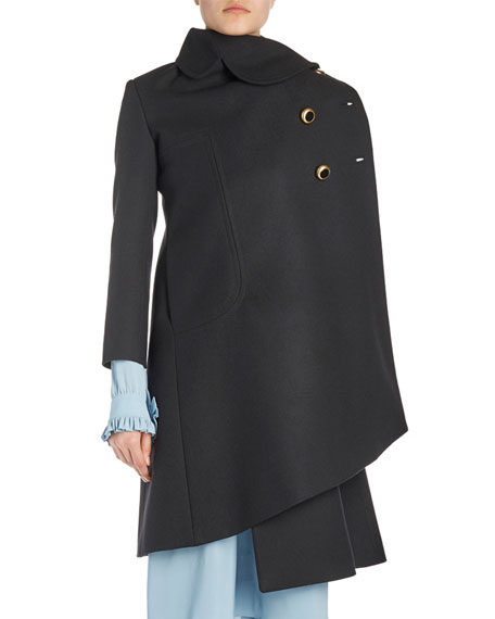 Asymmetric Jewel-Button Coat