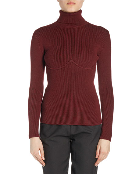 Ribbed Underwire Turtleneck Sweater