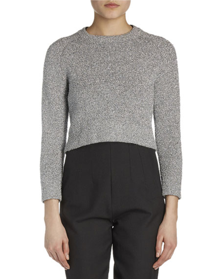 Bracelet-Sleeve Shrunken Knit Sweater