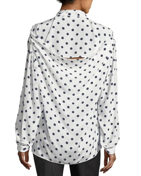 Polka Dot Tie-Neck Blouse