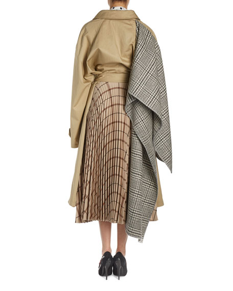 Trenchcoat w/Plisse Plaid Skirt Back