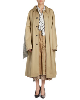 Trenchcoat w/Plisse Plaid Skirt Back