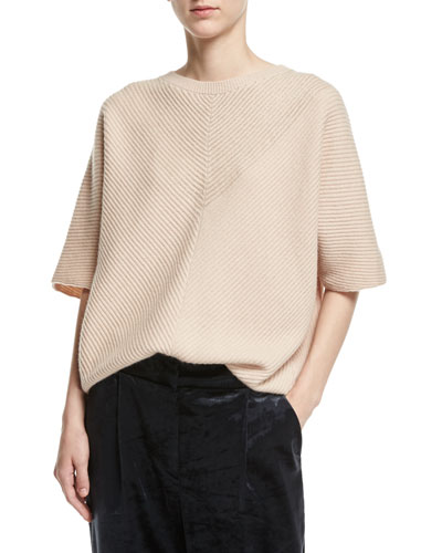 Bias-Ribbed Cashmere Sweater