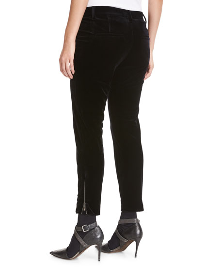 Liquid Velvet Ankle-Zip Pants