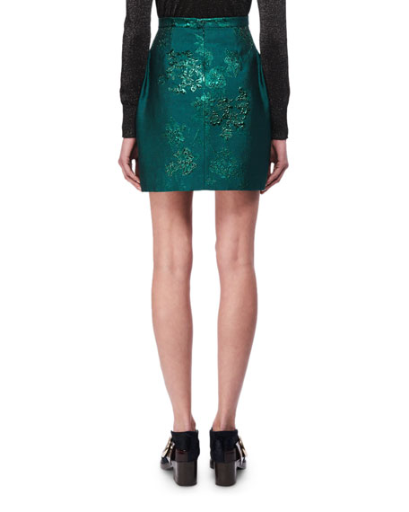 Lurex Floral Jacquard Miniskirt