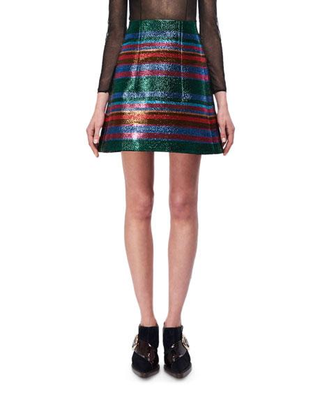 Lurex Striped A-Line Miniskirt