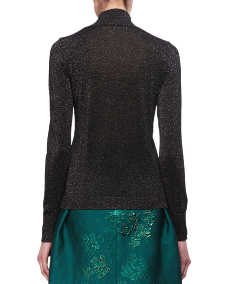 Embellished Lurex Mock-Neck Sweater