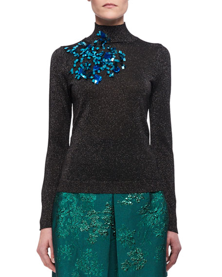 Embellished Lurex Mock-Neck Sweater