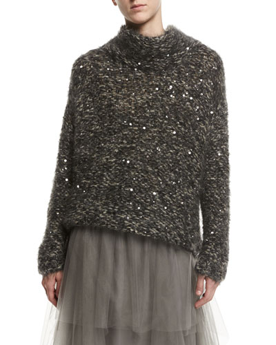 Cowl-Neck Paillette-Embellished Mohair Pullover