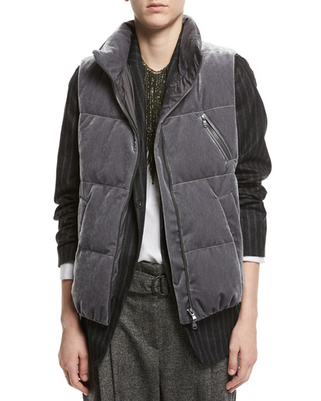 Velvet Puffer Vest with Fur-Trim Hood