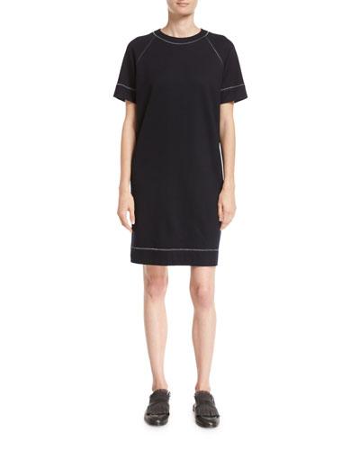 Wool-Cotton T-Shirt Dress with Lurex® Trim