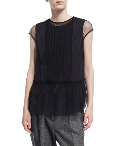 Pleated Tulle Cap-Sleeve Top