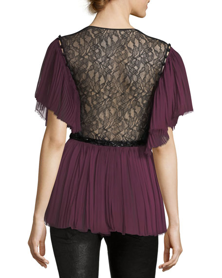 Pleated Lace-Trim Silk Top