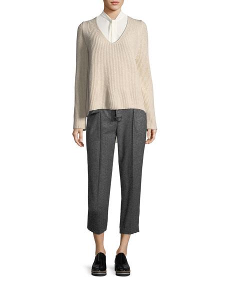 Wool-Tweed Tie-Waist Pants
