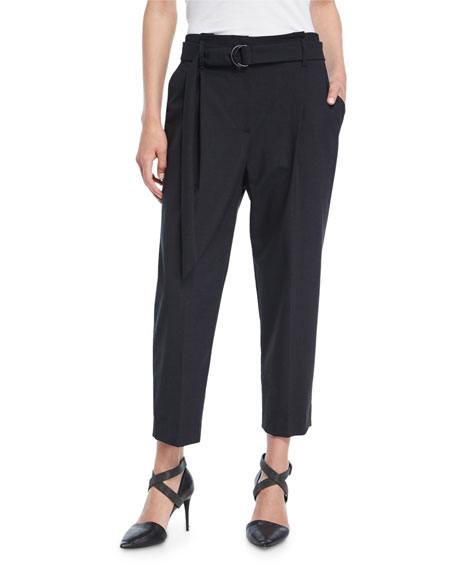Brunello Cucinelli Cropped Pleat-Front Pants w/Belt