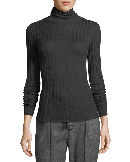 Cashmere/Silk Ribbed Turtleneck