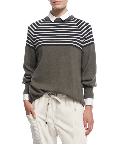 Striped 2-Ply Cashmere Crewneck Top