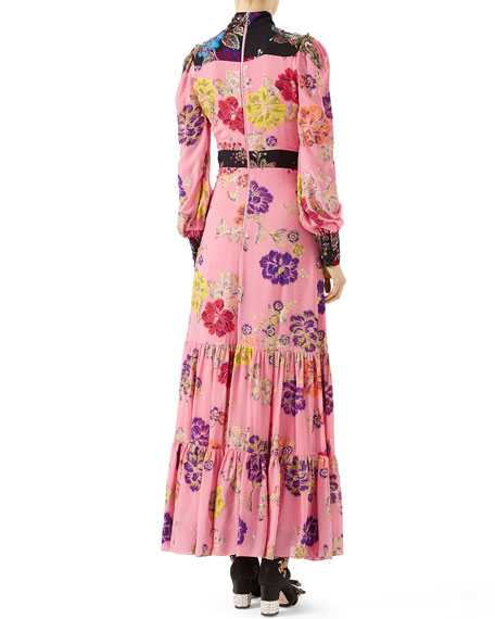 Garden-Print Crepe Dress, Pink Pattern