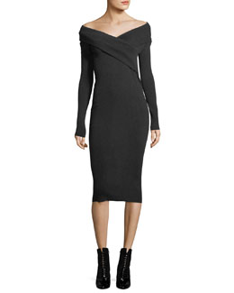 Long-Sleeve Off-Shoulder Midi Dress
