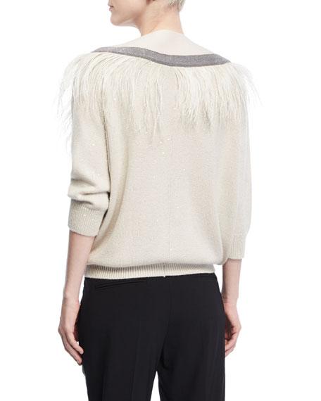 Monili Feather-Trim V-Neck Sweater