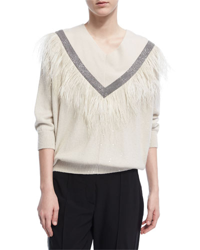 Monili Feather-Trim V-Neck Sweater