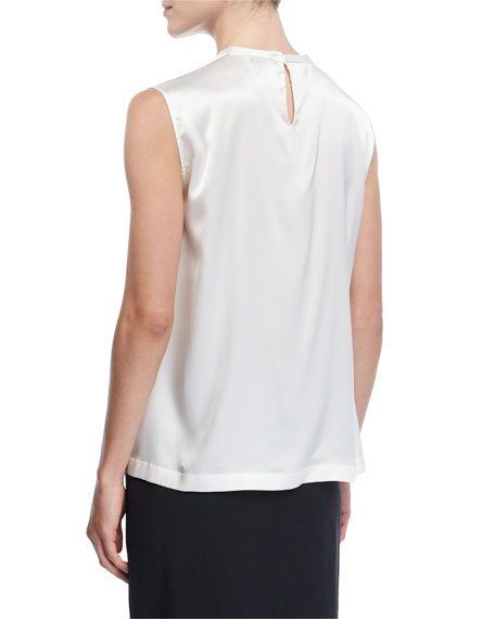 Sleeveless Stretch-Satin Top