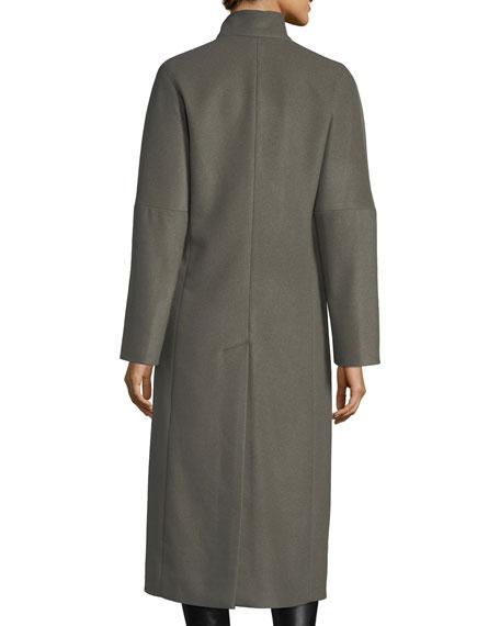 Asymmetric Technical Cashmere Coat
