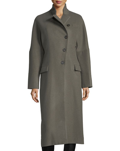 Asymmetric Technical Cashmere Coat