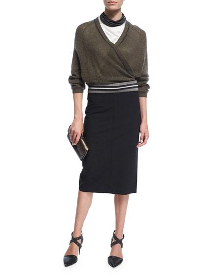 Varsity-Band Pencil Skirt