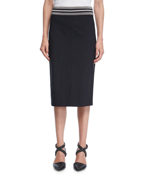 Varsity-Band Pencil Skirt
