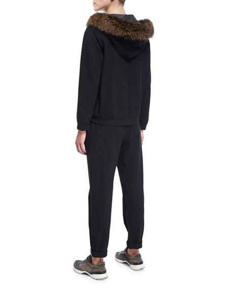 Fur-Trim Zip-Front Hoodie