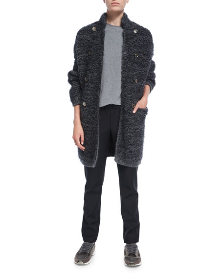 Long Fuzzy Knit Sweater Jacket